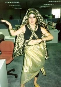 Kelly at work Halloween 1988